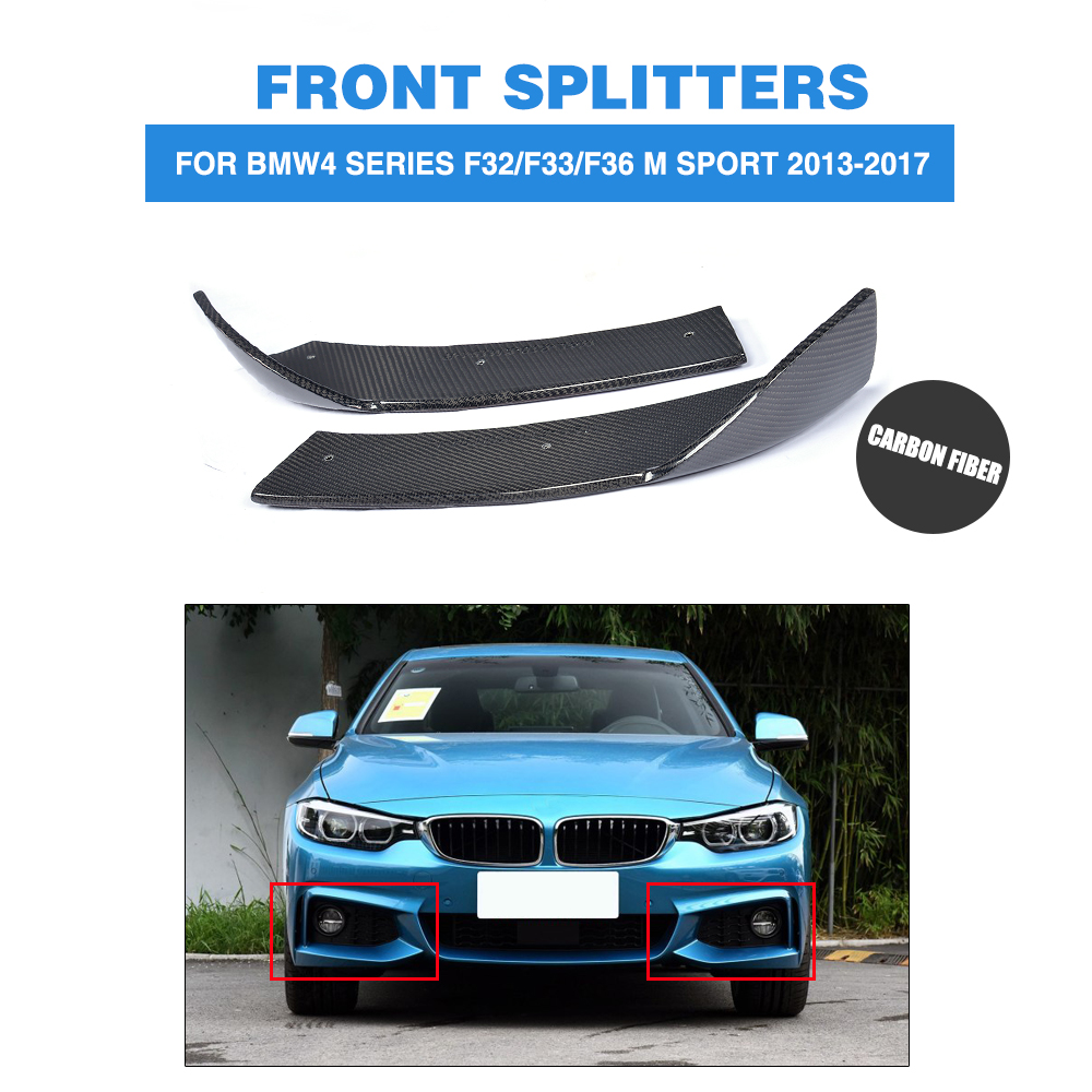 1Pair Carbon Fiber Front Bumper Splitters Lip Flaps Cupwings for BMW 4 Series F32 435i M Sport Coupe 2-Door 2013-2017