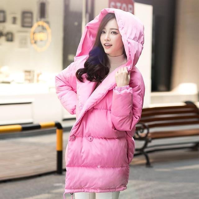 Loose women ajuste casaco de inverno de moda bonito de Algodão Acolchoado jaqueta com capuz casaco de médio ocasional plus size duck down sobretudo brasão snowear