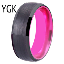 Rings For Women 8MM Wedding Band Black Tungsten with Pink Aluminum Ring Engagement for Men Anniversary Party