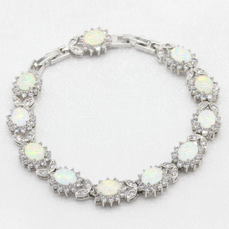 925 Sterling Silver White Opal Bracelets Flower Shape Jewelry For Women Free Gift Box WPAITKYS eiolzj white oval fire opal stone 925 sterling silver clip earrings for women bridal fashion jewelry free gift box three colors