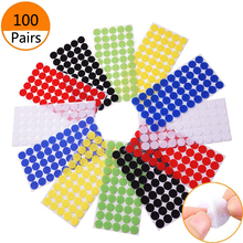 100 Pairs Velcros Dots Nylon sewing Sticky Back Coins Hook Loop Self Adhesive Fastener Tape for DIY Craft Sticks Project Colors