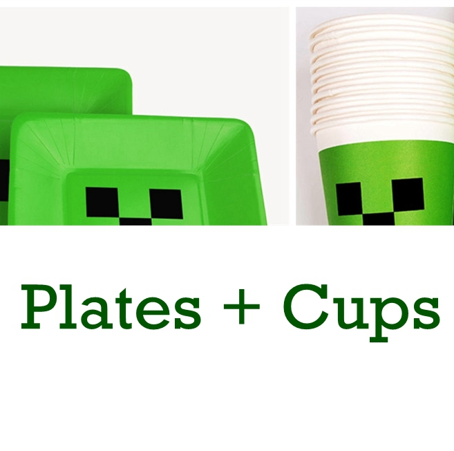 Minecraft Dishes Plates Minecraft Cups Happy Birthday Party Christmas Decoration Tableware Kit Supplies Creeper Paper Cup