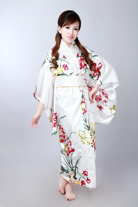 High Fashion Colorful Japanese Female Silk Yukata Classic Flower Kimono With Obi Novelty Performance Costume One Size H0045