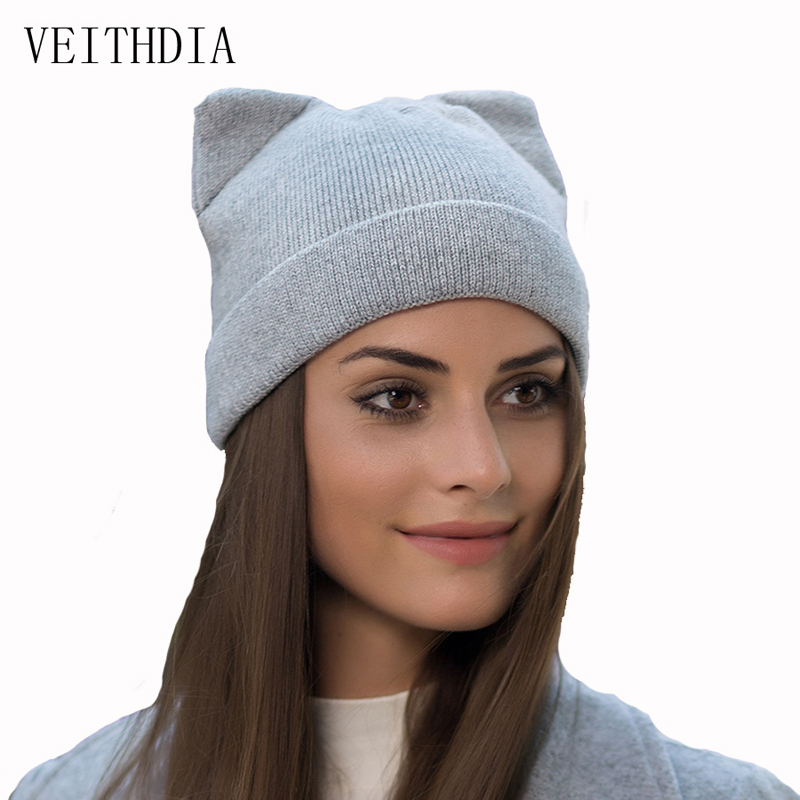 VEITHDIA women autumn winter knitted hats cute kitty beanie hat for women girls winter wool cap Skullies gorras veithdia women autumn winter knitted hats cute kitty beanie hat for women girls winter wool cap skullies gorras 607