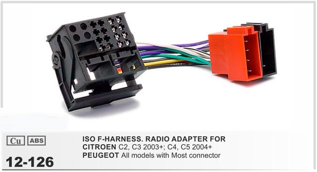 웃 유Car ISO Stereo Wiring Harness For Citroen C2 C3 C4 C5 Peugeot ...