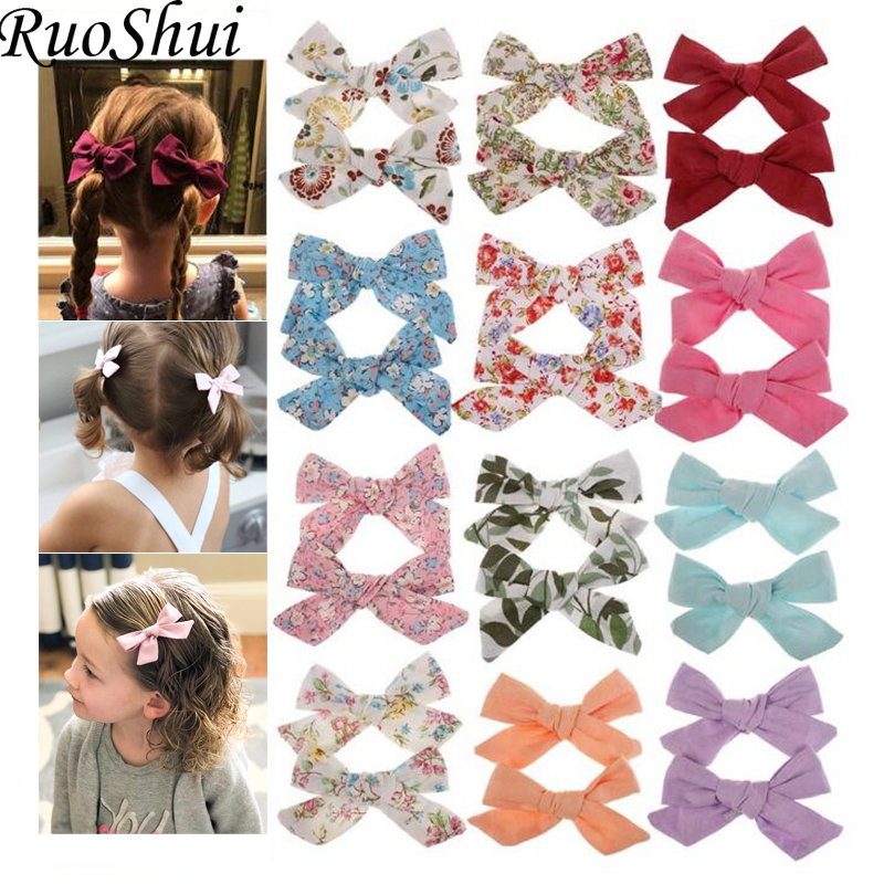 2019 Lovely Baby Girls Print Flower Bohemian Style Bow BB Hair Clips Headwear Children Cute Cotton Hairpins Hair Accessories(China)
