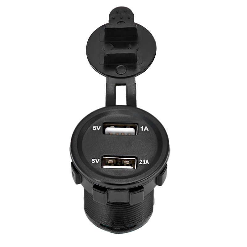 Mini dual USB car cigarette charger 3.1A 12v/24v usb car cigarette lighter motorcycle with voltage monitor cigarette socket
