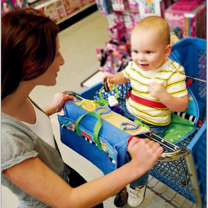 Le chariot à achats de couverture de panier couvre le siège avec des jouets faciles à apporter avec