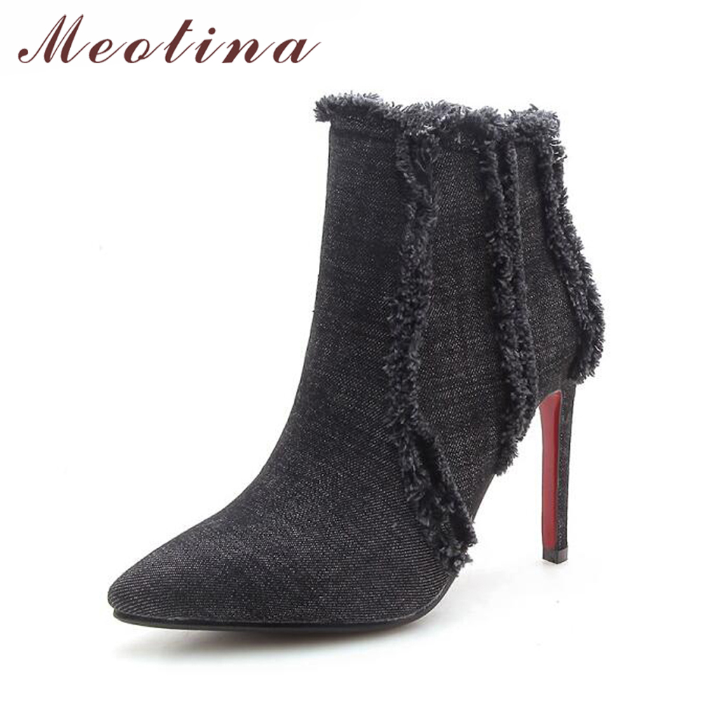Meotina 2018 Women Boots Cowboy Boots For Women Thin High Heel Boots Tassel Ankle Boots Brand Designer Pointed Toe Blue BlackMeotina 2018 Women Boots Cowboy Boots For Women Thin High Heel Boots Tassel Ankle Boots Brand Designer Pointed Toe Blue Black