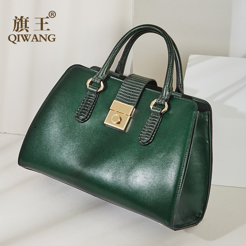 Qiwang New Green Handbag Women NAPA Genuine Leather Bag Snake Top Handle Tote Bag Women Luxury