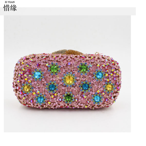 XIYUAN BRAND red Rhinestones Day Clutches coin clutch wallet Purse Evening Bags Luxurious diamond pink BagsXIYUAN BRAND red Rhinestones Day Clutches coin clutch wallet Purse Evening Bags Luxurious diamond pink Bags