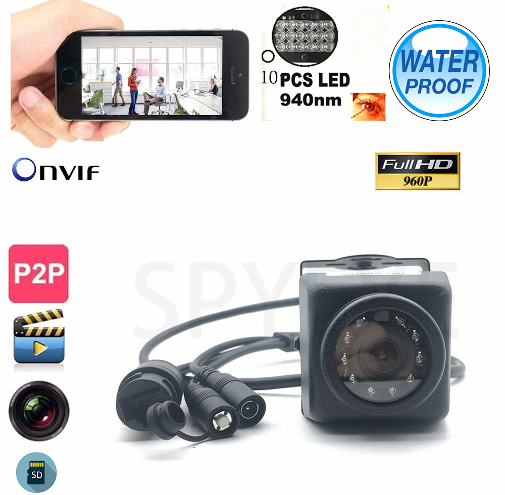Onvif Waterproof IP66 960P Mini Car IP Camera Night Vision IR-Cut SD Card Slot 940nm IR CCTV Camera Security For Android&Iphone брюки roberto cavalli белый