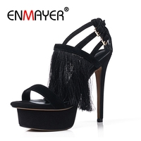 ENMAYER 2018 Platform Sandals Summer Women Gladiator Black Shoes Buckle Tassel Ladies High Heels Shoe Suede Female Tassel CR367