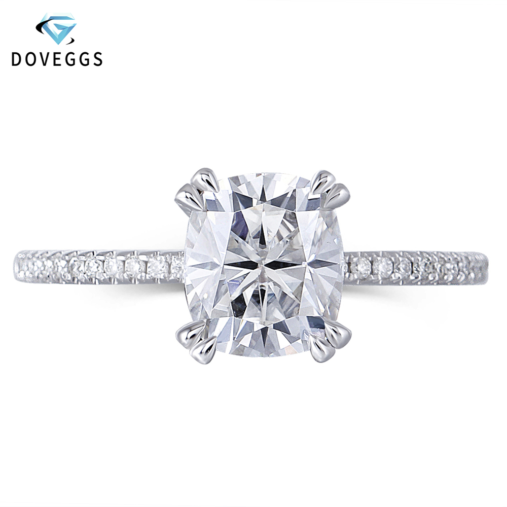DovEggs 14K White Gold 2ct Carat 7 8mm F Color Cushion Cut Moissanite Diamond Engagement Rings
