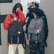 Tide Men And Women Both Shoulders Package anti theft Backpack Concise Will Capacity School Wind 2019