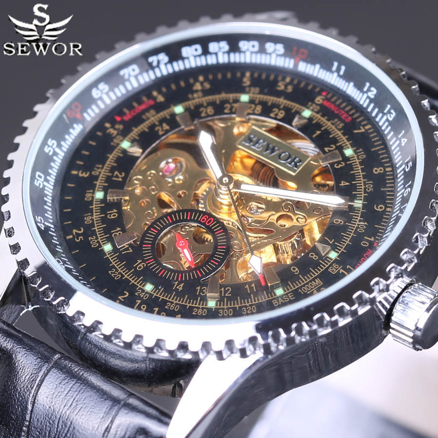 SEWOR2018 Business Mens Mechanical Watches Retro Men Military Skeleton Automatic Watch Men Self Wind Leather Bracelet Male ClockSEWOR2018 Business Mens Mechanical Watches Retro Men Military Skeleton Automatic Watch Men Self Wind Leather Bracelet Male Clock