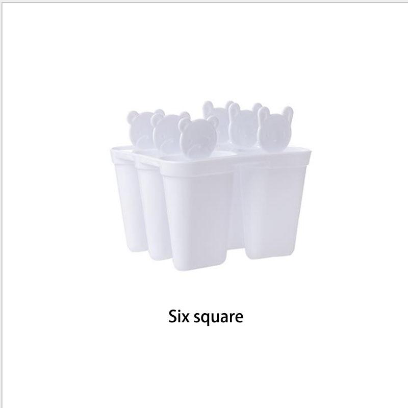 Мода 6 ячеек милый медведь Ручка Плесень лоток Сковорода Кухня замороженный кубик льда Форма для мороженого самодельный Лед Крем инструменты для приготовления пищи - Цвет: 01