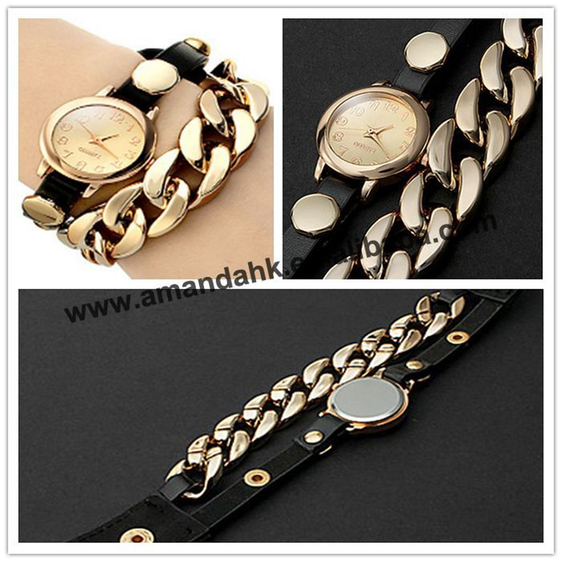 Bracelet Watches Woman Dress Gold-Plated Synthetic-Leather Multicolor Fashion Women 100pcs/Lot