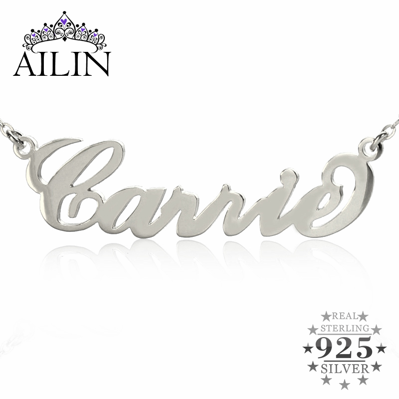 AILIN Personalized Name Necklace Sterling Silver Initials Necklace 10 kinds Typefaces Customized Necklace Great Christmas Gift rainmarch silver personalized name choker necklace 925 sterling silver necklace vintage customized women jewelry christmas gift