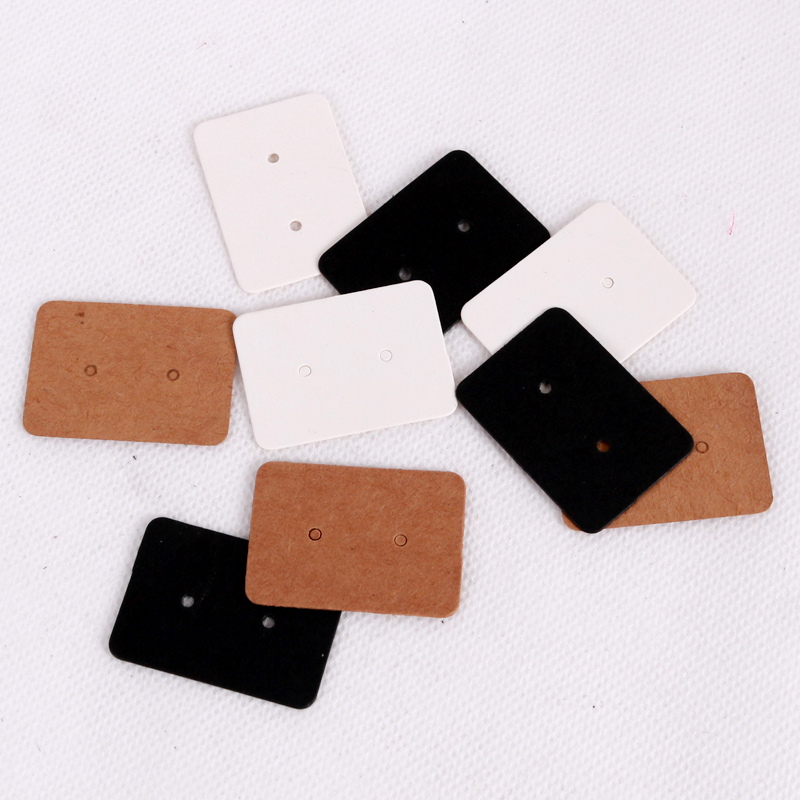 100Pcs 2.5x3.5cm Blank Kraft Paper Earring Cards Hang Tag Jewelry Display Ear Stud Cards Favor Label Tag White Black Brown Color