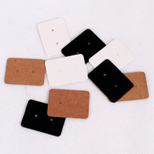 100Pcs 2.5x3.5cm Blank Kraft Paper Earring Cards Hang Tag Jewelry Display Ear Stud Cards Favor Label Tag White Black Brown Color(China)