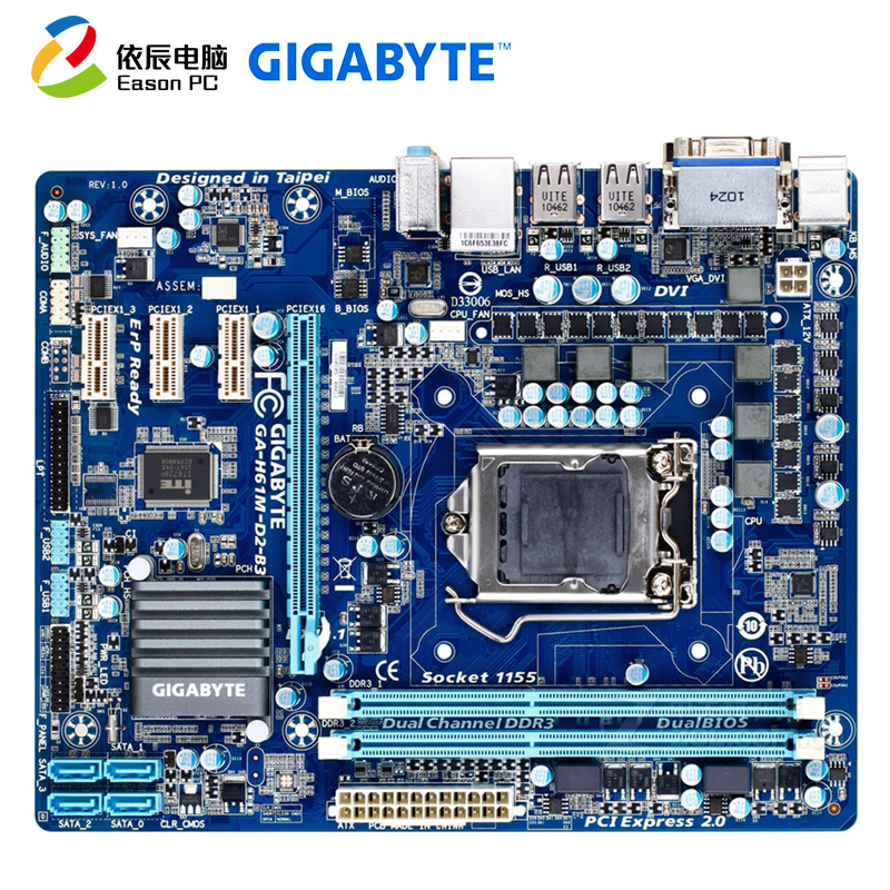 GIGABYTE GA H61M D2 B3(rev.1.0) LGA1155 DDR3 i3i5 USB2.0 SATA II-in Motherboards from Computer & Office