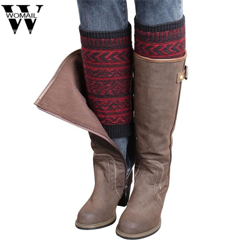 jan111Womail Women Winter Jacquard Trim Knitted Leg Stretch Boot Cuffs Warmers Socks Gaiter Geometric Boot Cover Gift Dropship