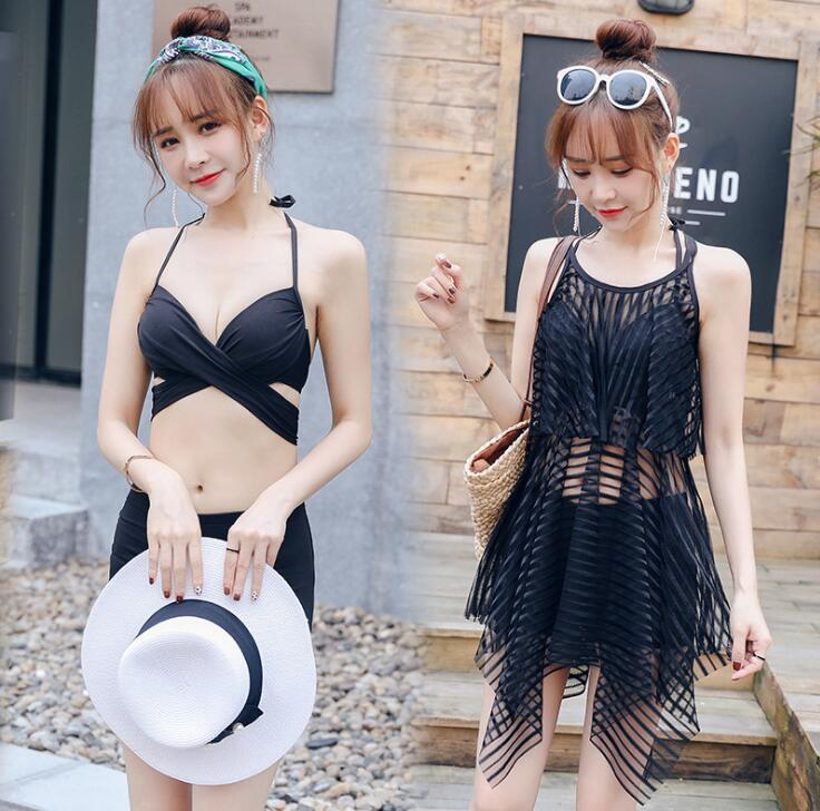 The new swimsuit ladies split bikini three-piece sexy conservative gathered in the steel pole Korean spa swimwear(China)