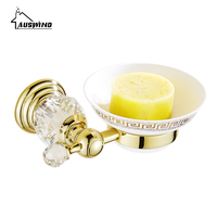 Europe Polished Brass Soap Dish Holder with Ceramic Plate Antique Gold Diamond Crystal Soap Holder Bathroom Accessories de6