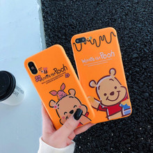 Hot Cartoon Anti-fall Cover Case For iphone 6 6S plus 7 8plus X 10 XR XS Max Cute Winnie Pooh Piglet soft  phone Cases