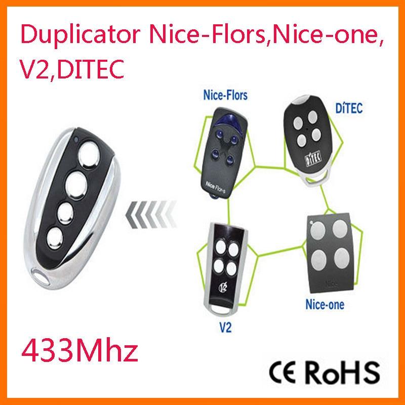 Ditec, V2 , Nice Flor-s .nice one rolling code remote telecommande universelle 433 MHZ Porte de Garage Portail