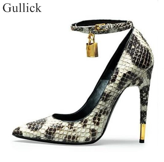 30d36b5b331 Ankle Wrap Metal Lock Stiletto High Heels Pumps Snake Print Leather Pointed  Toe Shoes Wedding Party Dress High Heels Shoes