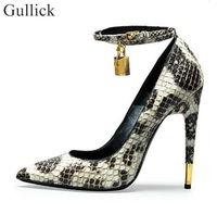 Ankle Wrap Metal Lock Stiletto High Heels Pumps Snake Print Leather Pointed Toe Shoes Wedding Party