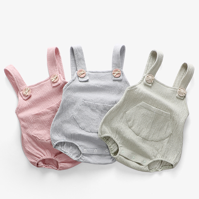 Baby Clothes! Baby Girl Boy Cotton&Linen   Romper   Solid Color Suspender Overalls Infant Jumpsuit 6-24M for Ropa Bebe