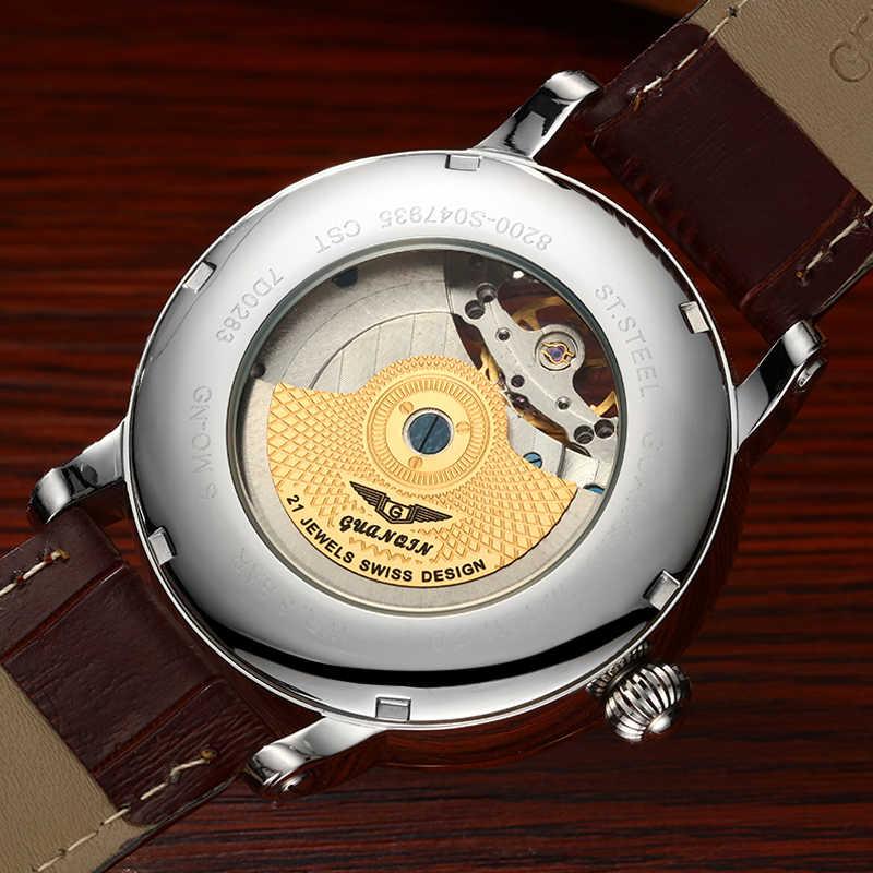 2019 модные GUANQIN мужские s часы лучший бренд класса люкс Мужские часы-Скелетон спортивные кожаные Tourbillon автоматические механические наручные часы