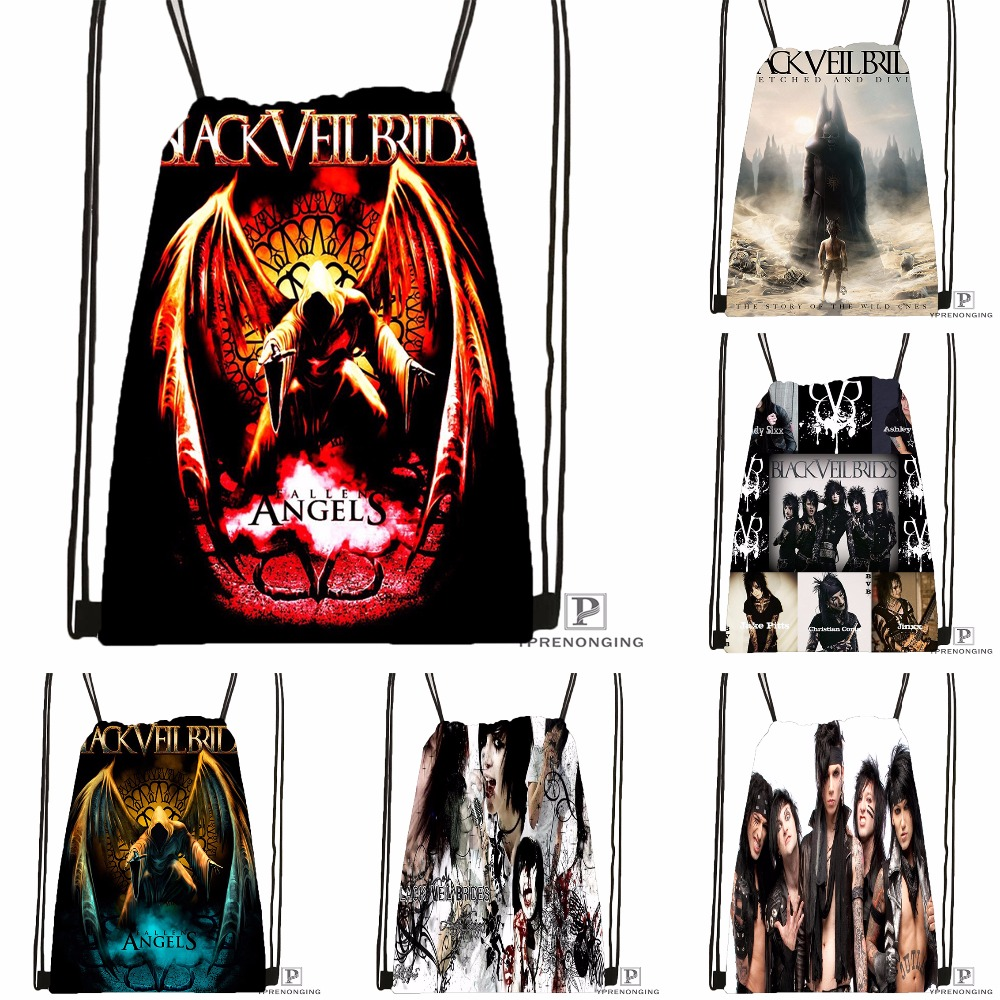 Custom Black Veil Brides Johnnyfan Drawstring Backpack Bag Cute Daypack Kids Satchel (Black Back) 31x40cm#180531-04-56