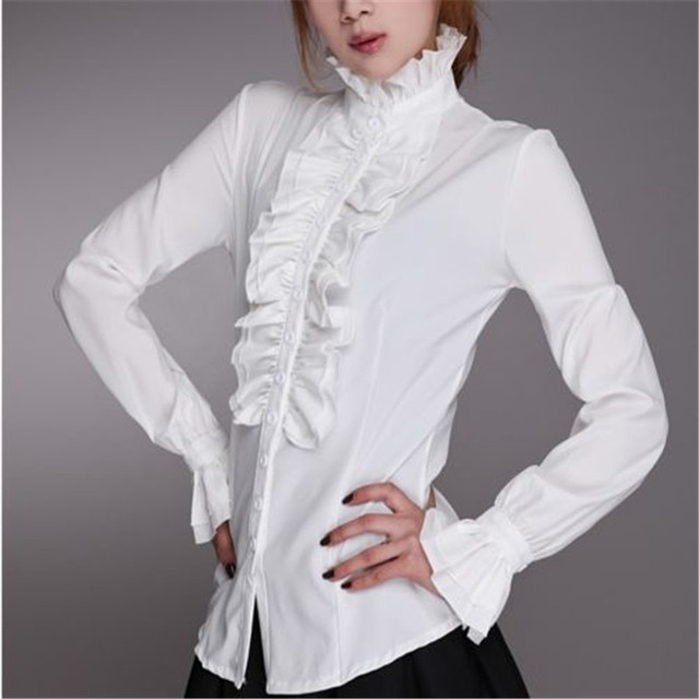 45c20187b19a9a Vintage medieval Shirts Women Office Lady Shirt Frilly Ruffles Long  Butterfly Sleeve Turtleneck shirt Top Flounce Blouse Clothes-in Blouses &  Shirts from ...
