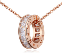White Rose Champagne Gold Plated Men S Necklaces Cubic Zirconia Pendant Necklace Engagement Party Jewelry For