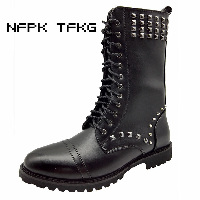 British fashion men party night club wear cow leather rivets shoes mid-calf martin motorcycle long boots oxfords shoe zapatos