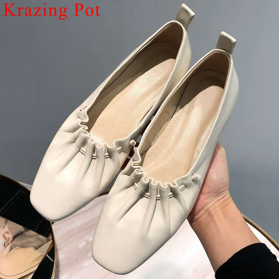 2019 luxury natural leather hand sewn leather slip on loafers comfortable grandma shoes square toe vocation