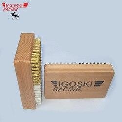 IGOSKI ski y snowboard herramientas de encerado medio nylon y medio cepillo de latón herramienta pulidora