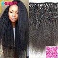 8A Kinky hetero peruano grampo de cabelo em cabelo tramas virgem extensões de cabelo humano cabeça cheia grosso Yaki Clip - ins cabelo navio livre