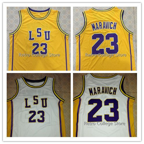 ... High Quality 23 Pete Maravich LSU Tigers College Basketball Jerseys  White Purple Yellow Stitched Customized ... d85d12efa