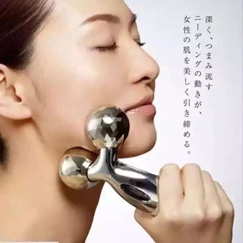 3D rodillo masajeador 360 rotar plata fina la cara de la forma del cuerpo de arrugas removedor de masaje Facial relajación herramienta