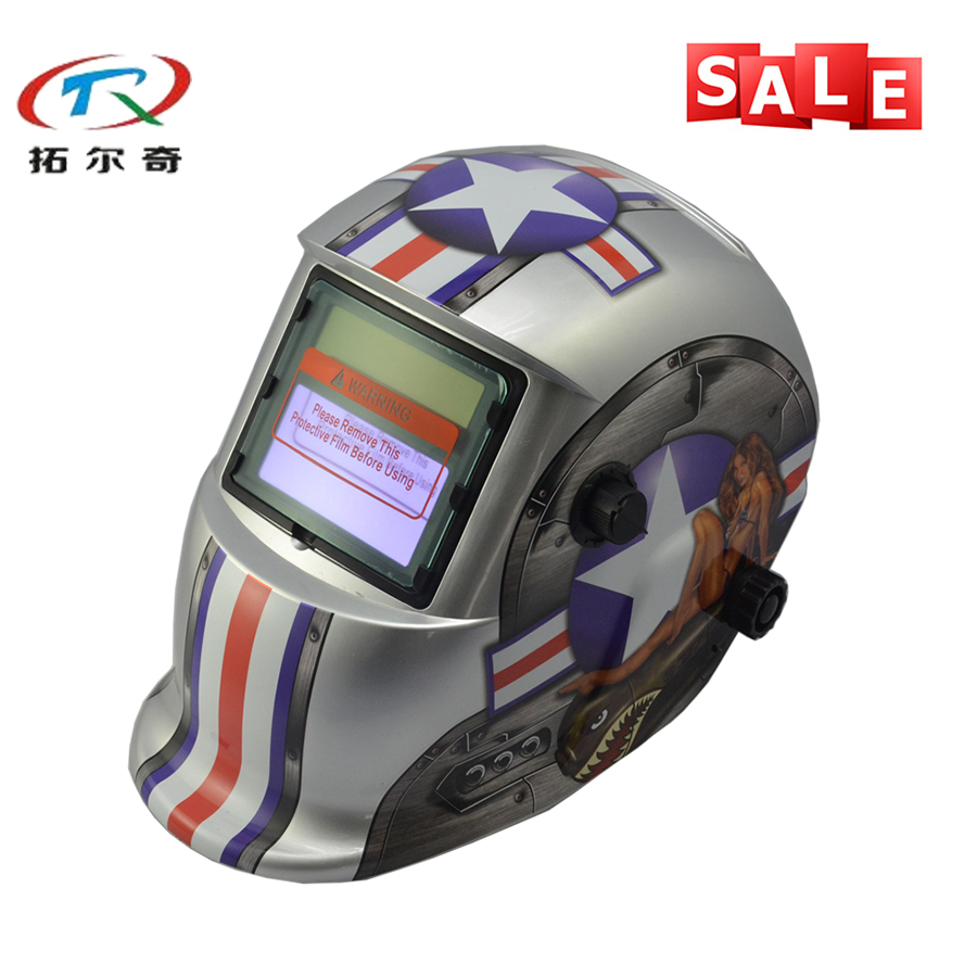 Sexy Football Girl Printing Lovely Welding Helmets Grinding Automatic Battery Safety Products Welding Helmet TRQ-HD68with 2233FF