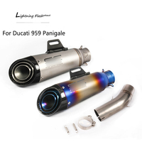 For Ducati 959 Panigale Motorcycle Exhaust Pipe Titanium Alloy Mid Pipe Slip On 61 mm Carbon Fiber Escape No DB Killer 310 mm