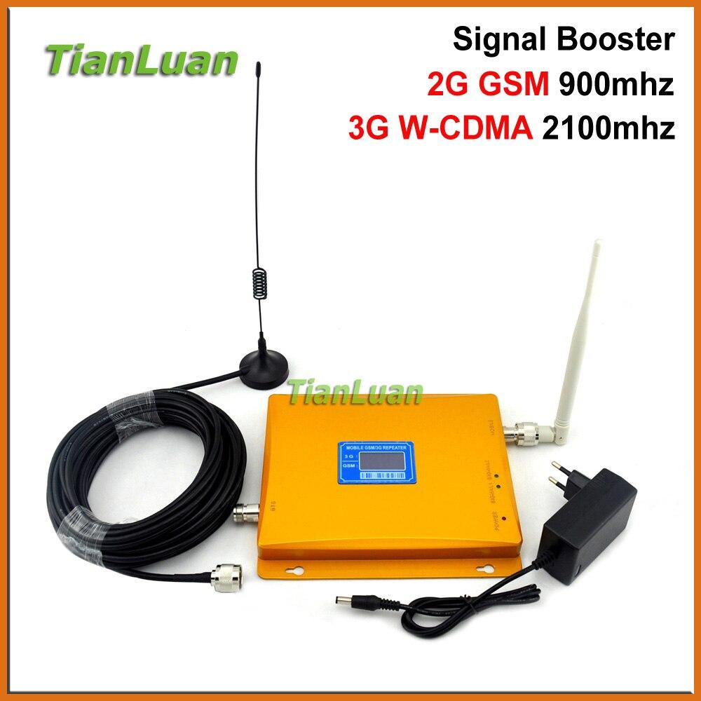 TianLuan LCD Affichage W-CDMA UMTS 2100 MHz GSM 900 Mhz Mobile Téléphone Signal Booster 2G 3G Répéteur de Signal avec Fouet/Sucker antenne