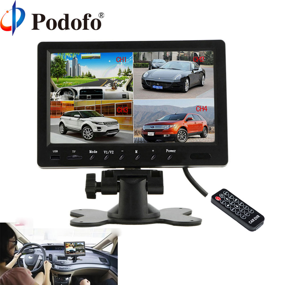 Podofo 9 Split Screen Quad Monitor 6 Mode Display Car Backup Monitor Support Micro SD Card DVR Record Rear Side View Camera