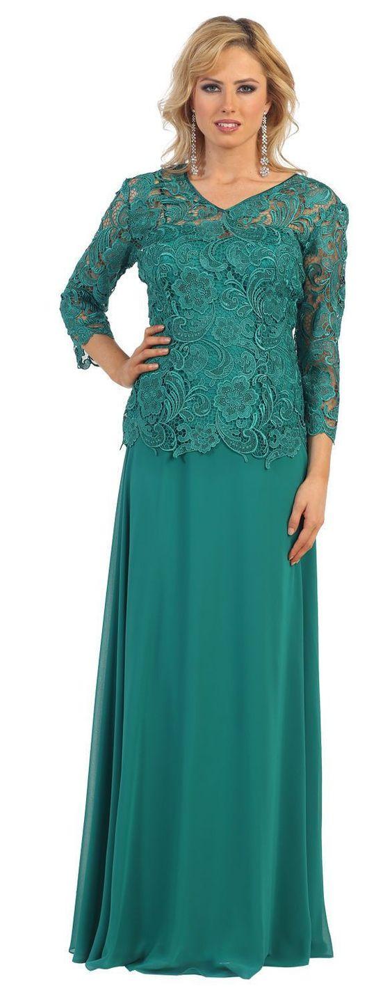 Green Lace Mermaid Mother of the Bride Dresses long sleeves Weddings ...