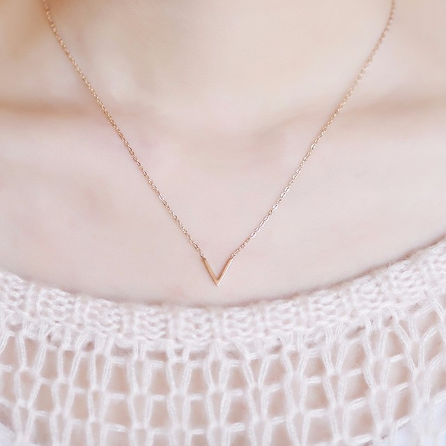 Yun ruo yellow rose gold silver colors v shape pendant necklace yun ruo yellow rose gold silver colors v shape pendant necklace for woman girl fashion gift mozeypictures Images